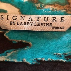 Signature by Larry Levine Tops - Turquoise/Black/Tan Western Shirt, 2X